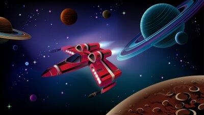 Poster Raumschiff, Planeten und Raumfahrt.