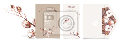 Poster Ready to use set of card and envelope . Watercolor wedding invitation design template with cotton flower, bud, and branches. floral elements and frame.