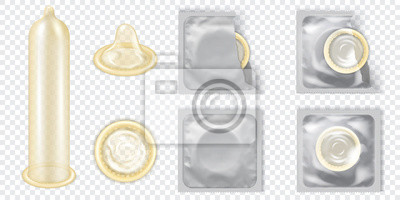 Poster Realistic 3D Detailed Latex Condom Vector Set.