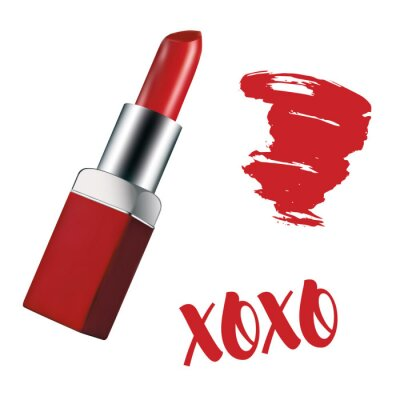 Poster Realistic illustration of red lipstick on a white background. Red lipstick mark and xoxo inscription. Red and silver packaging. Gradient mesh style. Can be used in web design, checklist, manuals, pri