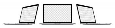 Poster Realistic laptop computer mockup set : front view, sideway view. Isolated perspective devices with empty screens on white background. Editable blank screen mock-up. Vector illustration.