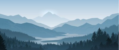 Poster Realistic mountains landscape. Morning wood panorama, pine trees and mountains silhouettes. Vector forest hiking background