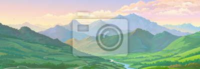 Poster Realistic vector image of the mountain landscape and a river across the green fields.