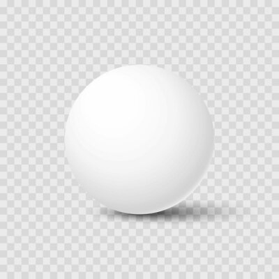 Poster Realistic white sphere with shadow isolated on transparent background. Mockup template for your design. 3d ball or orb. Concept for advertising or presentation. Vector illustration