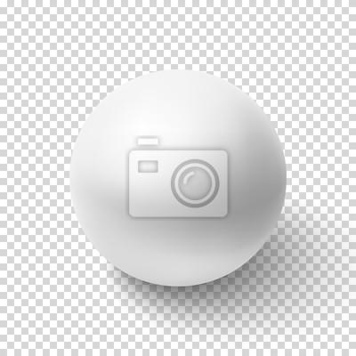 Poster Realistische weiße Kugel isoliert auf transparentem Hintergrund.