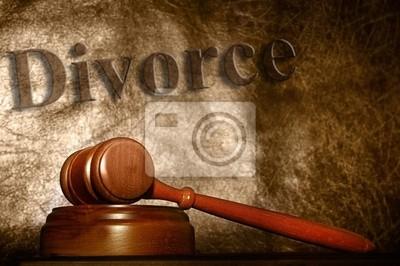 rechtliche Gavel und Scheidung Texthintergrund