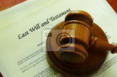 Rechtliche Hammer auf ein Wille (juristische Dokumente)