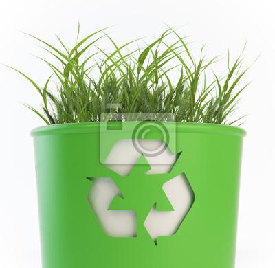 Recycling Mülleimer recycling mülleimer mit wachsendem gras wandposter poster bin
