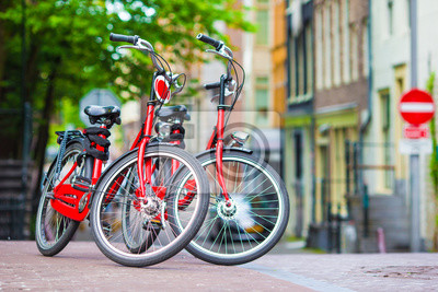 Red Bikes on the bridge in Amsterdam, Netherlands
