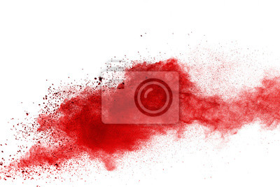 Poster Red powder explosion on white background. Colored cloud. Colorful dust explode. Paint Holi.