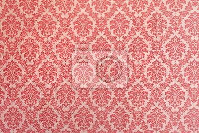 Poster Red wallpaper vintage flock with red damask design on a white background retro vintage style