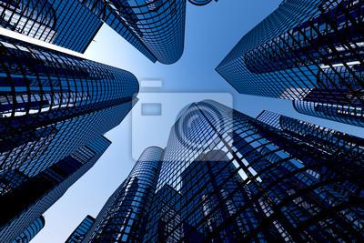 Poster Reflektierende Wolkenkratzer, Business-Bürogebäude.