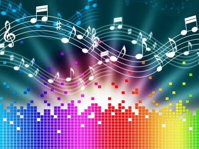 Poster Regenbogen-Musik Hintergrund bedeutet, Melody Gesang und Soundwaves.