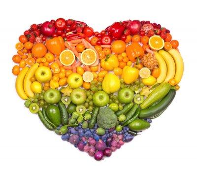 Poster Regenbogenherz von Obst und Gemüse