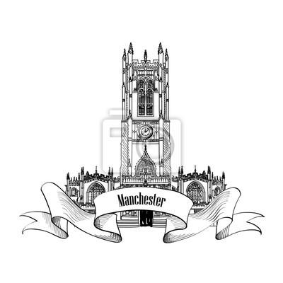 Reise England Label. Manchester Kathedrale, Großbritannien, Großbritannien. Englisch berühmte Stadt Gebäude gesetzt
