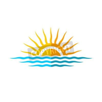 Poster Reise-Logo-Vorlage. Sonne mit Seewellen.