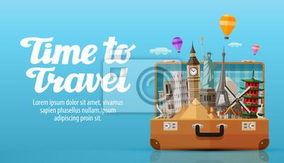 Poster Reisen in die Welt. Offenen Koffer mit Sehenswürdigkeiten. Abbildung