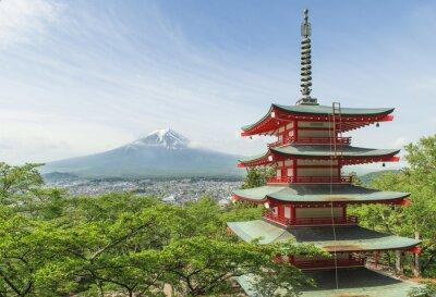 Poster Reiseziel - Mt. Fuji mit roten Pagode im Frühling, Fujiyos