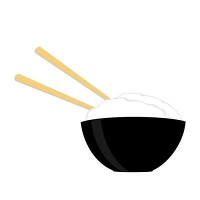 Poster Reisschüssel mit zwei Essstäbchen