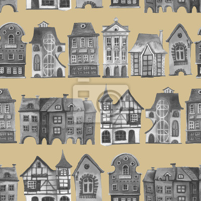 Rero city pattern. Set of watercolor colorful european amsterdam style houses isolated on white background. Watercolour hand drawn Netherlands stylized facades of old buildings