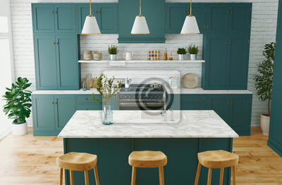 Poster Residential interior of modern kitchen in luxury mansion, 3d rendering