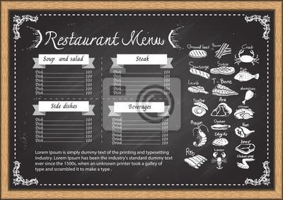 Poster Restaurant Menu On Chalkboard Design Template