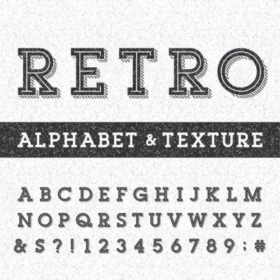 Poster Retro Alphabet-Vektor-Schrift mit Distressed-Overlay-Textur. Serif Typ Buchstaben, Zahlen und Symbole auf einem beunruhigten verkratzt Hintergrund. Vektor Typographie für Etiketten, Headlines, Plakate