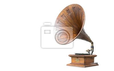 Poster Retro- altes Grammophon getrennt auf Weiß