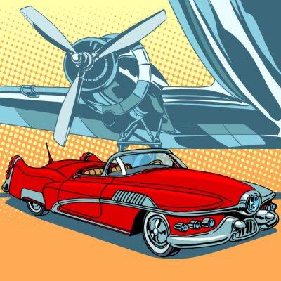 Poster Retro Auto auf der Landebahn
