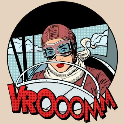 Poster Retro Aviator Frau auf dem Flugzeug