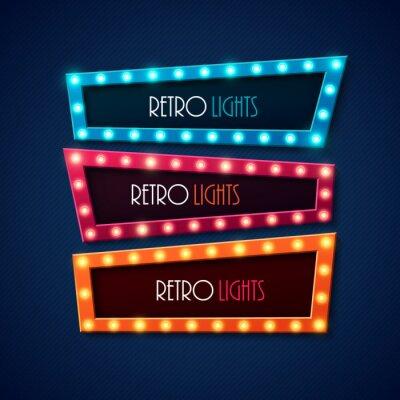 Poster Retro-Banner mit leuchtenden Lichter. Abbildung.