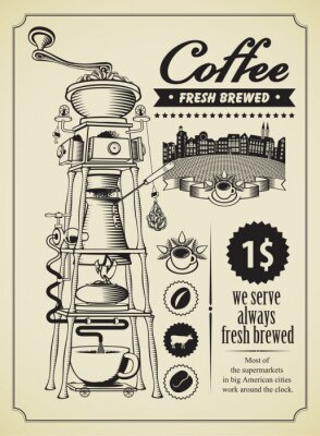 Poster Retro Banner mit surreal Kaffeemühle