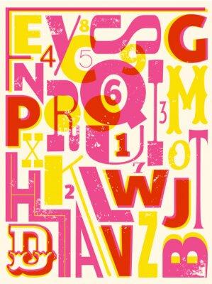 Poster Retro Buchstaben und Zahlen