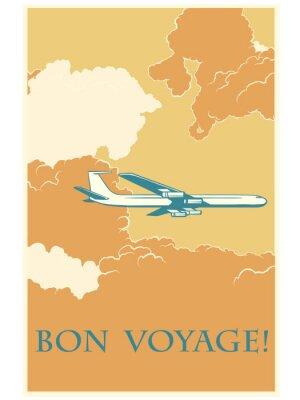 Poster Retro Flugzeug Gute Reise