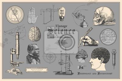 Poster Retro-Grafik-Design-Elemente: Vintage-Wissenschaft - Sammlung von Vintage-Zeichnungen mit Disziplinen wie Medizin, Phrenologie, Chemie, Palmen lesen (Chiromancy) und nautische Navigation