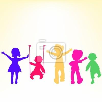 Retro Kinder etwas Silhouetten über glänzend Hintergrund