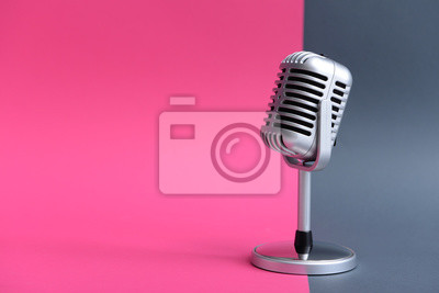 Poster Retro microphone on color background
