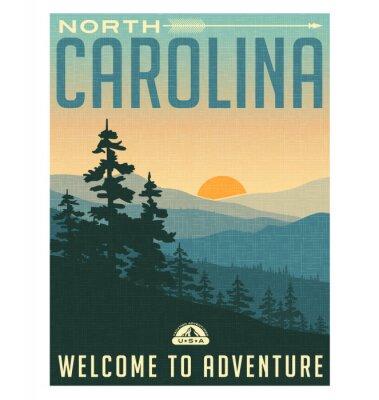 Poster Retro Reise-Art-Plakat oder Aufkleber. USA, North Carolina, Great Smoky Mountains