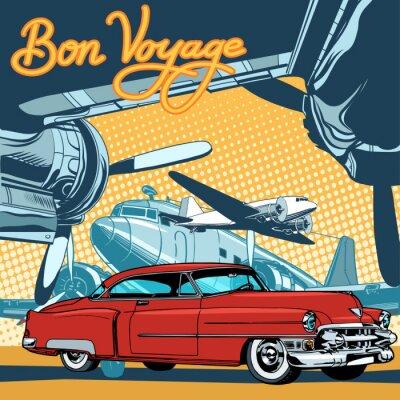 Poster Retro rotes Auto auf der Laufbahn Pop Art Retro-Stil