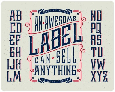 Poster Retro Schriftsatz mit Ornament-Rahmen für die Herstellung von Etikettendesign