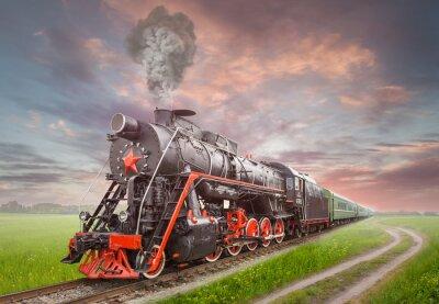 Poster Retro sowjetische Dampflokomotive