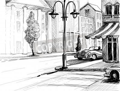 Poster Retro Stadt Skizze, Straße, Gebäude und alte Autos Vektor-Illustration, Bleistift auf Papier Stil