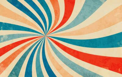 Poster retro starburst sunburst background pattern and grunge textured vintage color palette of orange red beige peach and blue in spiral or swirled radial striped vector design