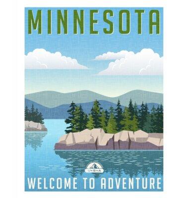 Poster Retro style travel poster or sticker. United States, Minnesota scenic lake