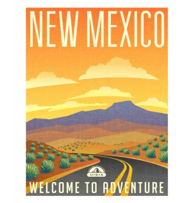Poster Retro style travel poster or sticker. United States, New Mexico desert mountain landscape.