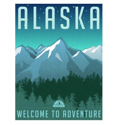 Poster Retro style travel poster series. United States, Alaska mountain landscape.