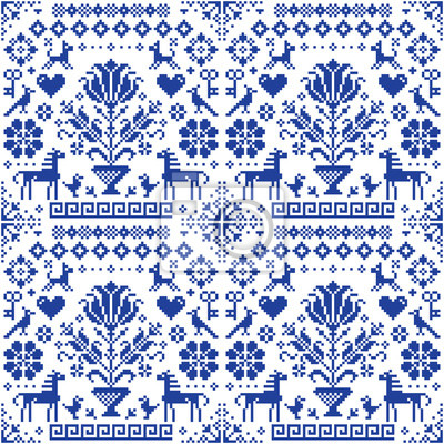 Poster Retro traditional cross-stitch vector seamless pattern - repetitive background inspired German old style embroidery with flowers and animals