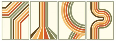 Poster retro vintage 70s style stripes background poster lines. shapes vector design graphic 1970s retro background. abstract stylish 70s era line frame illustration