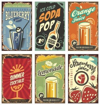 Poster Retro Wanddekor mit Säften und Getränken eingestellt