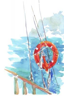 Poster Rettungsring Ozean Meer Aquarell Illustration